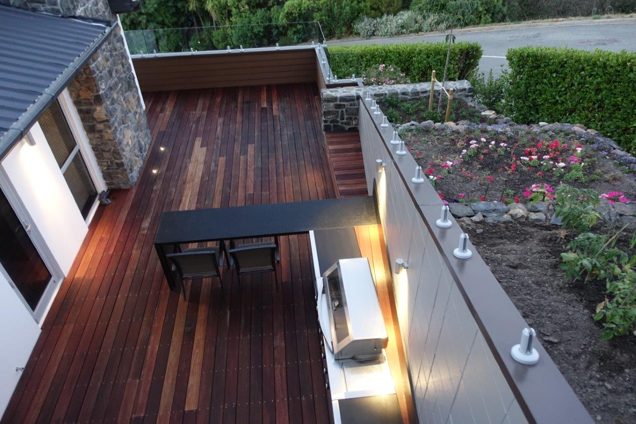 Landscaped deck with entertainment area and garden