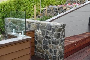 Landscape construction rock wall