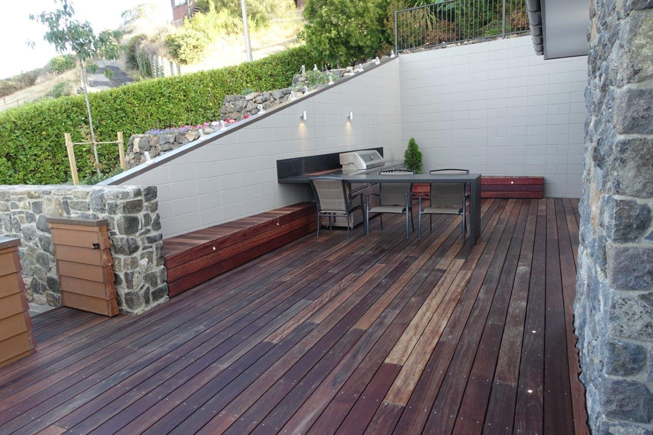 Decking with an outdoor kitchen and bbq area