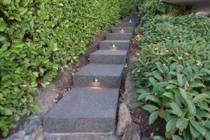Exposed Aggregate concrete steps with Landscaping and planting beside