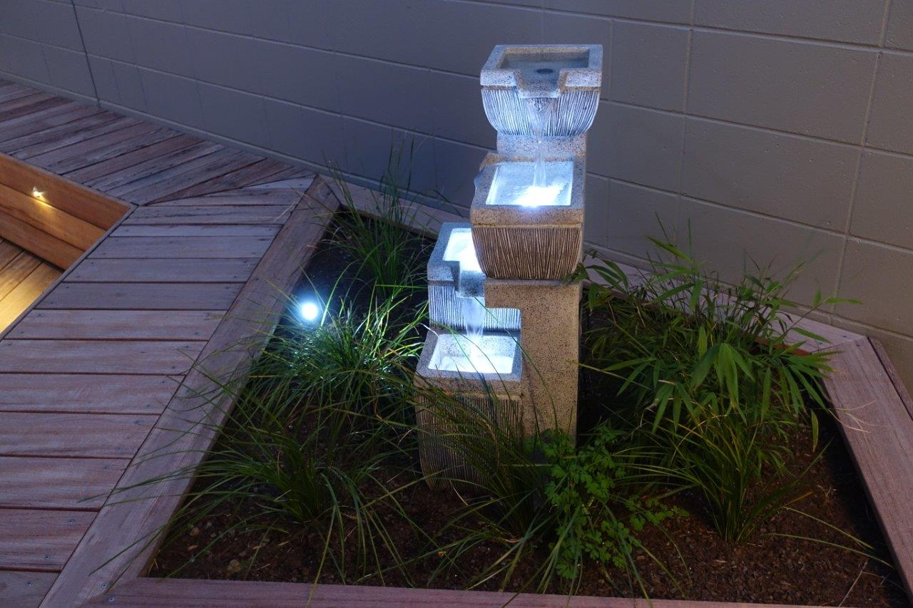 Raised Garden with Water feature landscaping